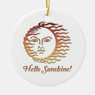 BONJOUR été de Sun d'amusement de SOLEIL Ornement Rond En Céramique