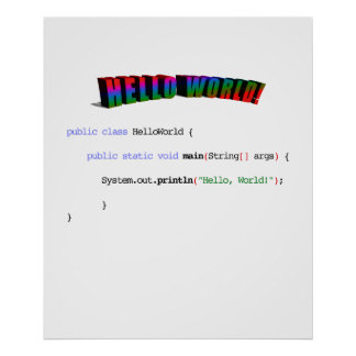 Bonjour geek Java de salutation du monde Posters