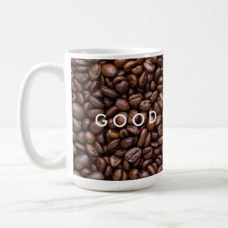 Bonjour. Grains de café rôtis par obscurité Mug