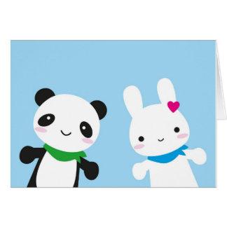 Bonjour lapin et panda carte de vœux