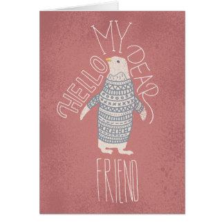 Bonjour ma chère carte postale de pingouin d'ami