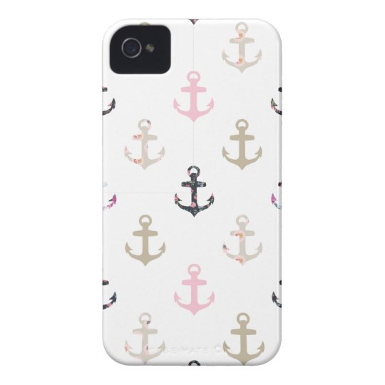 Bonjour marin ! Rétros ancres nautiques Girly Coque iPhone 4