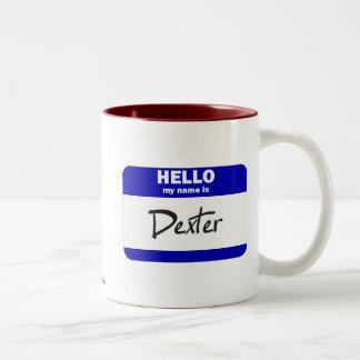 Bonjour mon nom est Dexter (bleu) Mug Bicolore