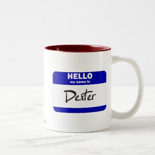 Bonjour mon nom est Dexter (bleu) Tasses