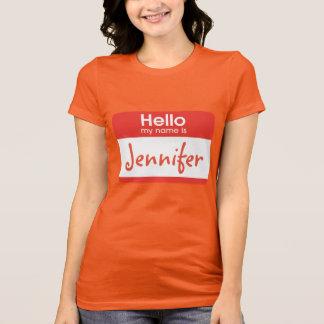 Bonjour mon nom est le T-shirt nommé d'étiquette