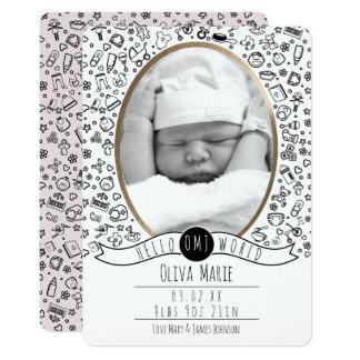 Bonjour monde, annonces mignonnes de bébé carton d'invitation  12,7 cm x 17,78 cm