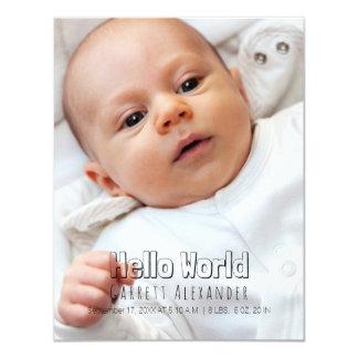 Bonjour naissance Annoucement du monde Carton D'invitation 10,79 Cm X 13,97 Cm