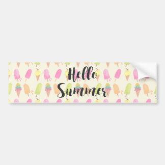 Bonjour Popsicles d'été et crème glacée Autocollant De Voiture