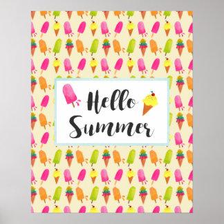 Bonjour Popsicles d'été et crème glacée Posters