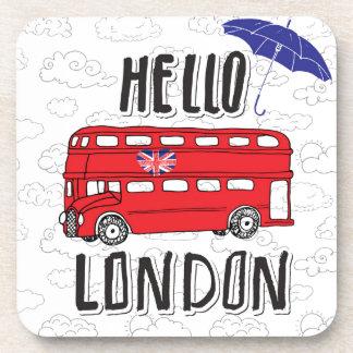 Bonjour signe en lettres de main de Londres   avec Dessous-de-verre