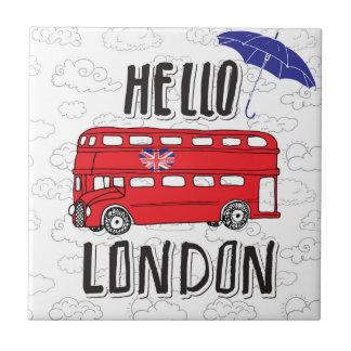 Bonjour signe en lettres de main de Londres | avec Petit Carreau Carré