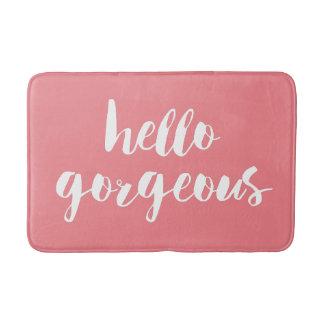 Bonjour typographies roses et blanches | de corail tapis de bain