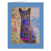 bonjour vous êtes un chat frais carte de vœux grand format