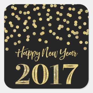 Bonne année 2017 de confettis de scintillement de sticker carré