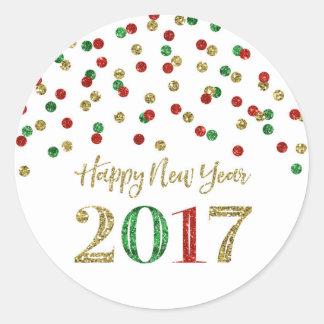 Bonne année 2017 de confettis de scintillement de sticker rond