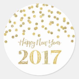 Bonne année 2017 de confettis de scintillement sticker rond