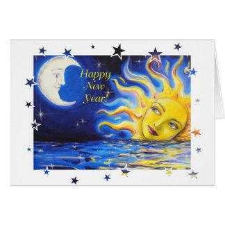 Bonne année carte de visage céleste de Sun et de
