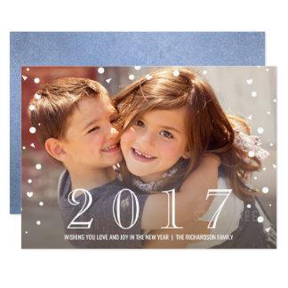 Bonne année   carte photo bleu de 2017 confettis