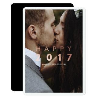 Bonne année ! carte photo de vacances d'or de