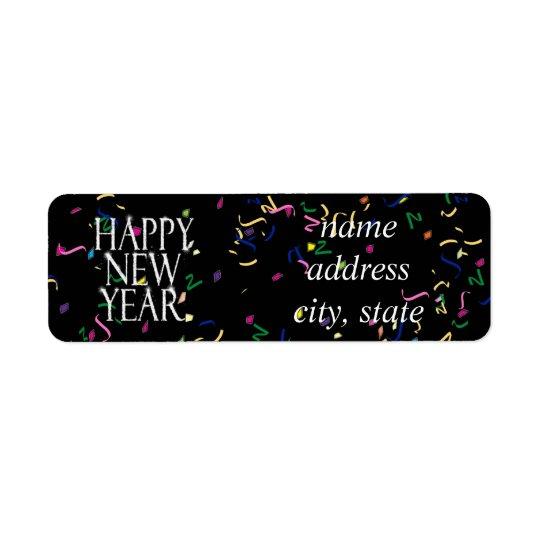 Bonne année de scintillement étiquette d'adresse retour