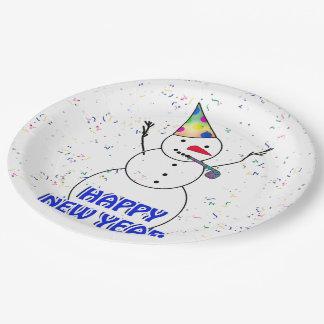 Bonne année du bonhomme de neige de célébration assiettes en papier