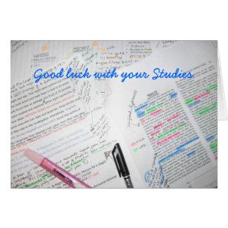 Bonne chance avec vos études cartes