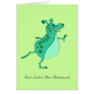 Bonne chance étrangère verte sautante dans votre r cartes
