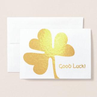 Bonne chance ! or irlandais de shamrock de | carte dorée
