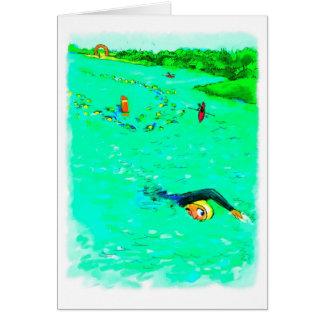 Bonne chance pour Triathlete - nageant outre du Carte De Vœux