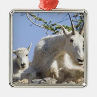 Bonne d'enfants de chèvre de montagne avec ornement carré argenté