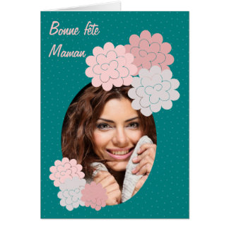 bonne fête maman fleurs et photo 01 vert carte de vœux