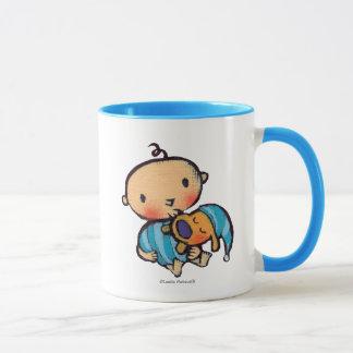 Bonne nuit chiot adorable de baisers dans des mug