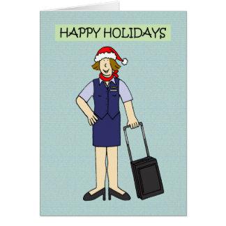 Bonnes fêtes à ou de l'équipage de cabine carte de vœux