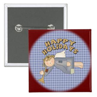 Bonnes fêtes ange badge carré 5 cm
