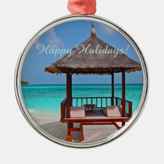 Bonnes fêtes belles îles des Maldives Ornement Rond Argenté