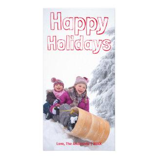 Bonnes fêtes bloc rouge - Photocard Cartes De Vœux Avec Photo