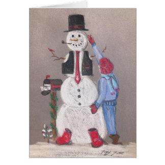 Bonnes fêtes carte de bonhomme de neige