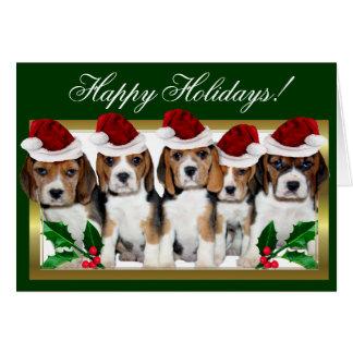 Bonnes fêtes carte de chiots de beagle de Noël