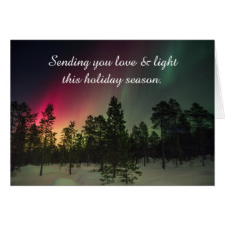 Bonnes fêtes carte de lumières du nord