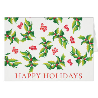 Bonnes fêtes carte de Noël de baie de houx