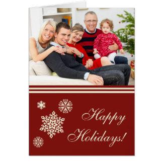 Bonnes fêtes carte de Noël rouge de flocons de nei