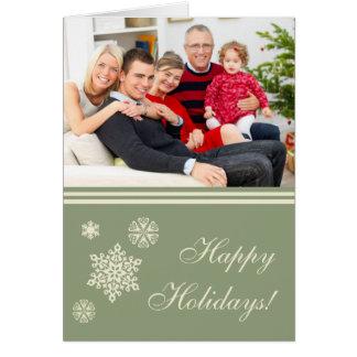 Bonnes fêtes carte de Noël verte de flocons de nei