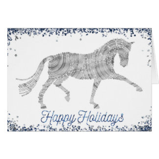 Bonnes fêtes carte de voeux argentée de cheval de