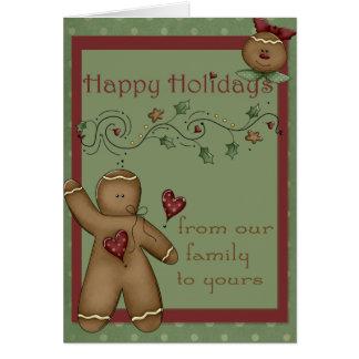 Bonnes fêtes carte de voeux de bonhommes en pain d