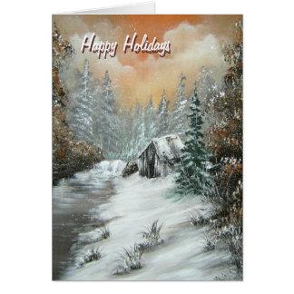 Bonnes fêtes carte de voeux de cabine d'hiver