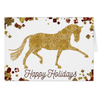 Bonnes fêtes carte de voeux de cheval de dressage