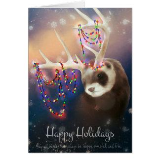 Bonnes fêtes carte de voeux de furet