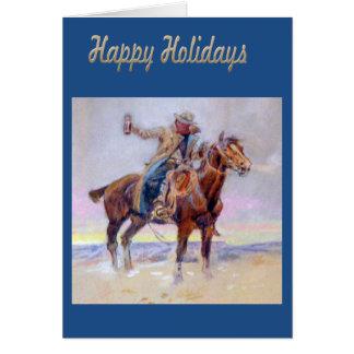 Bonnes fêtes carte de voeux occidentale de cowboy