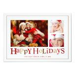 Bonnes fêtes carte photo de fête de trois images cartons d'invitation personnalisés