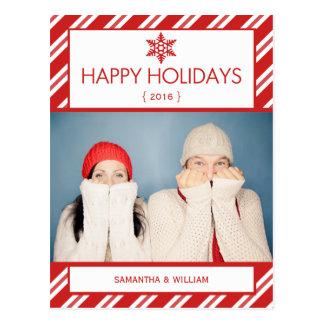 Bonnes fêtes carte postale rouge de sucre de canne